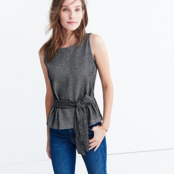 Madewell French Ribbed Tie Front Tank Top Small